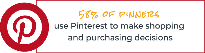 58% of pinners use Pinterest to make shopping and purchasing decision
